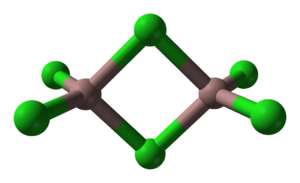 "Tetrahedral molecular geometry - Bitetrahedral structure adopted by Al2Br6 (""aluminium tribromide"") and Ga2Cl6 (""gallium trichloride"")."