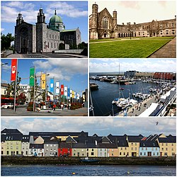 Top to bottom: Galway Cathedral, National University of Ireland - Galway, Eyre Square, Galway Harbour, The Long Walk