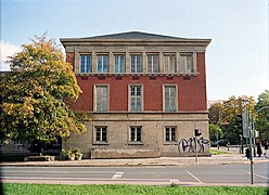 Gauforum Weimar 2003; south building, red wing from west.JPG