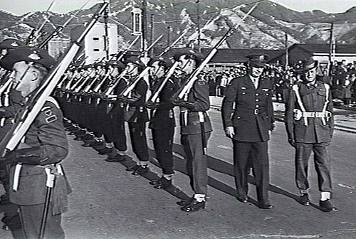 General Eichelberger inspects the Australian Guard of Honor at Kure, British Commonwealth Occupation Force Headquarters