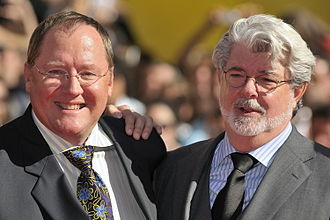 John Lasseter - Lasseter with George Lucas at the Venice Film Festival in 2009.