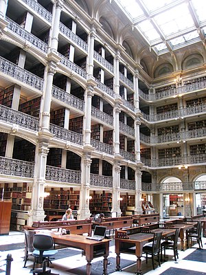 Edmund George Lind - Peabody Institute Library, designed in 1875 by architect Edmund George Lind.
