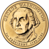 Gold coin with bust of Washington facing left