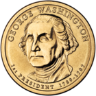 "Gold coin with bust of Washington facing slightly left of but looking sternly straight at the viewer. ""GEORGE WASHINGTON"" is above, ""1st PRESIDENT 1789–1797"" below, and ""JFM"" in tiny letters at the bust's base."