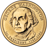 Obverse (left) and reverse (right) of the George Washington (#1) dollar coin