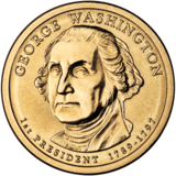 Gold coin with bust of Washington facing slightly left