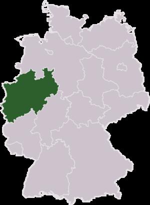Bundesland Nordrhein-Westfalen am Weste vun Däitschland