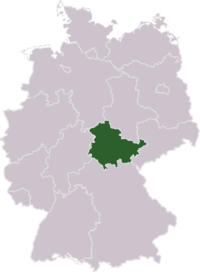 Position of Thuringia in Germany