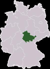 Mapa de Alemania resaltando el estado de Turingia