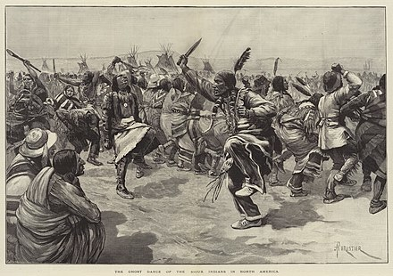 The Ghost Dance ritual, which the Lakota believed would reunite the living with spirits of the dead, cause the white invaders to vanish, and bring peace, prosperity, and unity to Indian peoples throughout the region Ghost dance.jpg