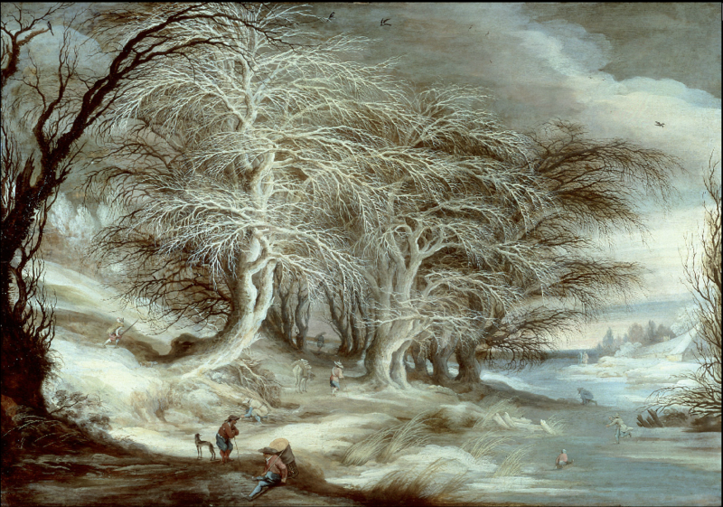 File:Gijsbrecht Leytens - Winter landscape with people strolling on the banks of a frozen river where children play.PNG