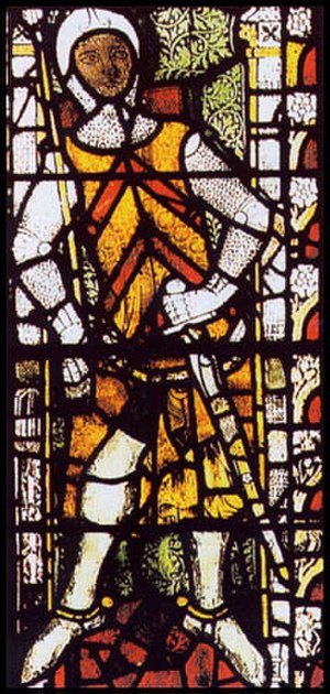 De Clare - Stained glass window in Tewkesbury Abbey depicting Lord Gilbert de Clare.