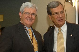 Trent Lott - Sen. Trent Lott with Former Speaker of the House Rep. Newt Gingrich (R-GA) at the 2004 Republican National Convention; both Lott and Gingrich provided consistent support to President George W. Bush.