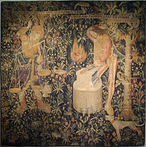 Tubal-cain - Tubal-cain in his forge. Tapestry, Musée de Cluny -- Musée national du Moyen Âge