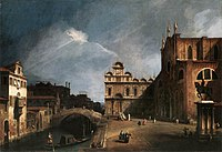 Giovanni Antonio Canal, il Canaletto - Santi Giovanni e Paolo and the Scuola di San Marco - WGA03862.jpg