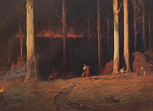 "Gippsland - John Longstaff's Gippsland, Sunday night, 20 February 1898, depicting the ""Red Tuesday"" bushfires that ravaged Gippsland"