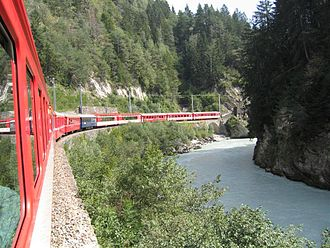 Lists of named passenger trains - The Glacier Express, a named passenger train in Switzerland.