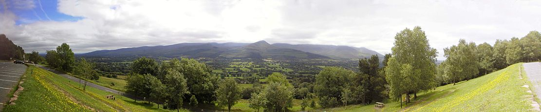 Panoramic view above the Glen of Aherlow from the 'Christ the King' statue area