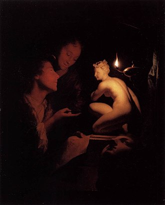Godfried Schalcken - Image: Godfried Schalcken Artist and Model Looking at an Ancient Statue by Lamplight WGA20946