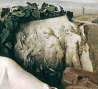 Goethe in the Roman Campagna - Detail from the painting: relief scene of Iphigenia
