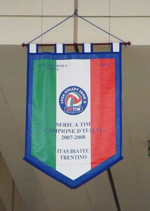 Italian Volleyball League - 2007–08 Itas Diatecc Trentino's  celebrative gonfalon.