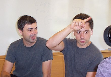 Larry Page and Sergey Brin in 2003 Google page brin.jpg