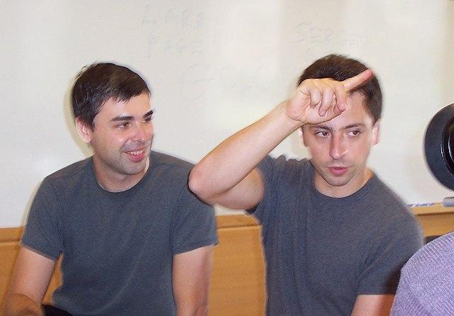 Larry Page y Sergey Brin, fundadores de Google, en septiembre de 2003.