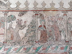 Medieval mural showing two scenes. One scene shows Jesus praying in the garden, with details as described in the text. The second scene illustrates the capture of Christ by soldiers.