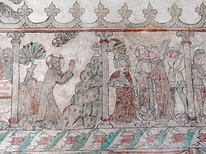 Holy Chalice - Two episodes from the Passion-cycle murals of Öja Church, Gotland.