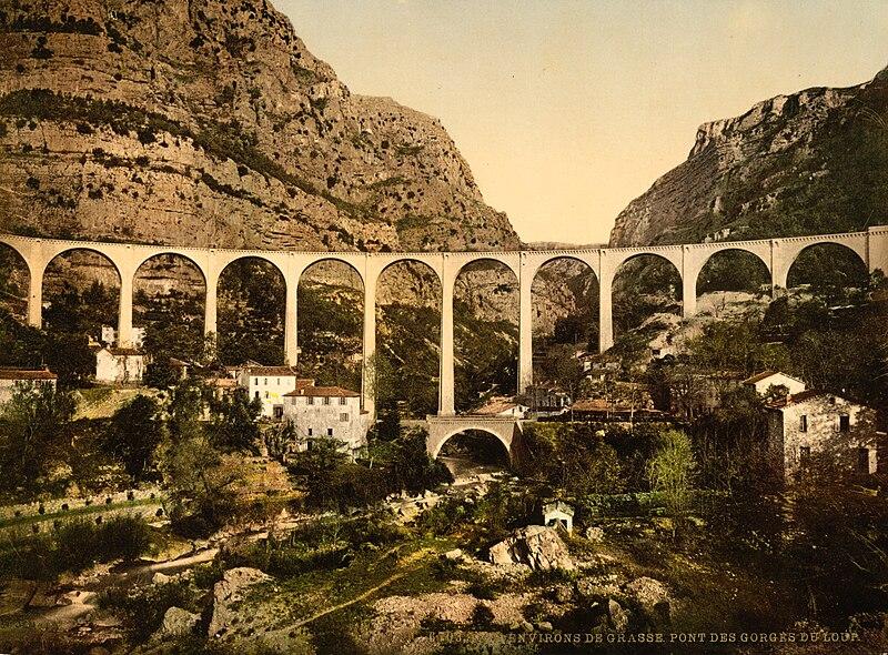 File:Gourdon, bridge over Gorges de Loup, Grasse, France, ca. 1895.jpg