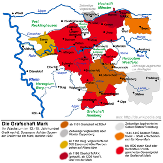 Soest Feud - Territorial changes following the Soest Feud. In orange: Cleves-Mark wins Soest and the Soest Börde; in grey: Cleves-Mark loses its rights in Fredeburg and Bilstein