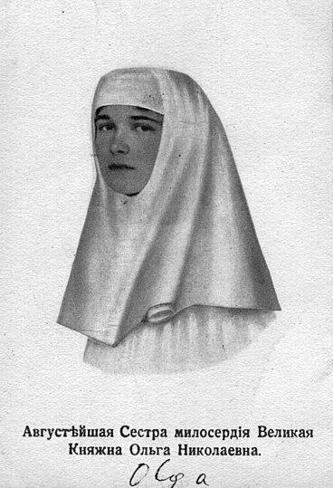 Grand Duchess Olga Nikolaevna of Russia with a nun-like headdress.jpg