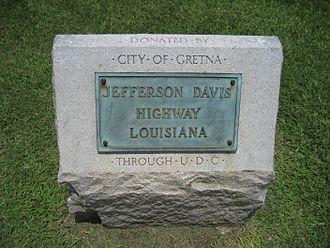 Jefferson Davis Highway - Image: Gretna Stone Jeff Davis Hwy Marker