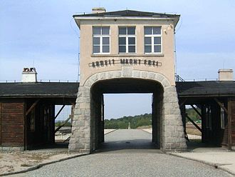 Gross-Rosen concentration camp - Gross-Rosen entrance gate with the phrase Arbeit Macht Frei