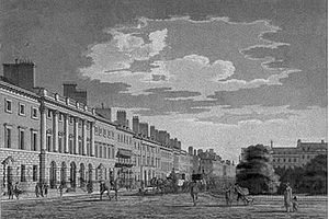 The north side of Grosvenor Square in the 18th or early 19th century. The three houses at the far left form a unified group, but the others on this side are individually designed. Most later London squares would be more uniform.