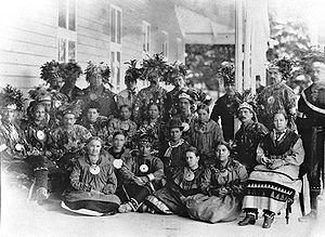 Huron-Wendat Nation - Huron-Wendat group from Wendake (Lorette) at Spencerwood, Quebec City, 1880