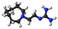 Ball-and-stick model of the guanethidine molecule