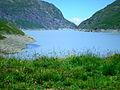 Hérémence, Grande-Dixence, vue sur le barrage depuis le Réservoir.jpg