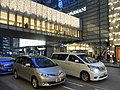 HK Central evening Chater Road Armani Chater House footbridge n Toyota automobiles Dec-2012.JPG