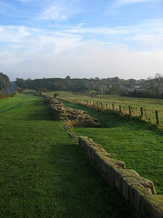 Milecastle 12 - The curtain wall in Heddon-on-the-Wall (east of Milecastle 12)