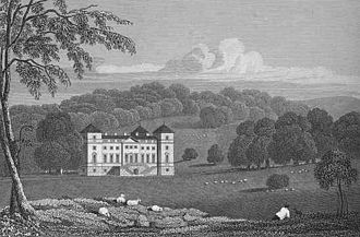 Hagley Hall - Hagley Hall in the 1820s. The front facade (facing south-west).