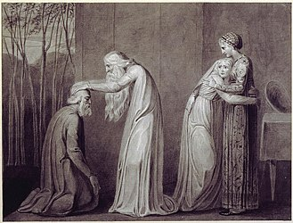 "Tiriel (poem) - Har blessing Tiriel while Mnetha comforts Heva (British Museum); the illustrated text is: ""Then Har arose and laid his hand on old Tiriel's head"" (2:35)."
