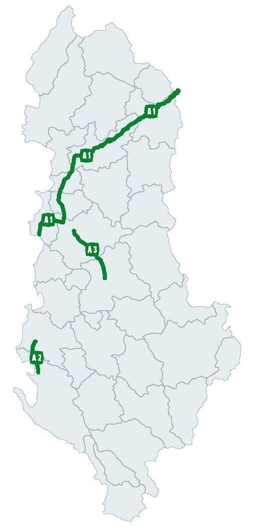 Harta autostrade Shqiperia