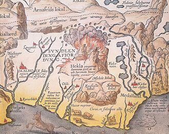 """Hekla - Detail of Abraham Ortelius' 1585 map of Iceland showing Hekla in eruption. The Latin text translates as """"The Hekla, perpetually condemned to storms and snow, vomits stones under terrible noise""""."""