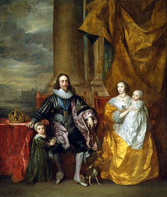 Henrietta Maria of France - Henrietta Maria and King Charles I with Charles, Prince of Wales, and Princess Mary, painted by Anthony van Dyck, 1633. The greyhound symbolises the marital fidelity between Charles and Henrietta Maria.