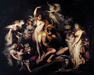 Fairy painting - Titania and Bottom. Oil on canvas by Henry Fuseli, c. 1790