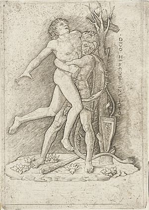 Giovanni Antonio da Brescia - Hercules and Antaeus, in the style of Andrea Mantegna, engraving