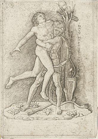 Giovanni Antonio da Brescia - Hercules and Antaeus, in the style of Andrea Mantegna, engraving