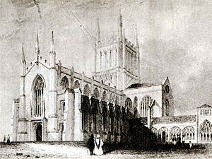 Hereford Cathedral - South West View featuring Wyatt's reconstruction with Cloisters (engraving)