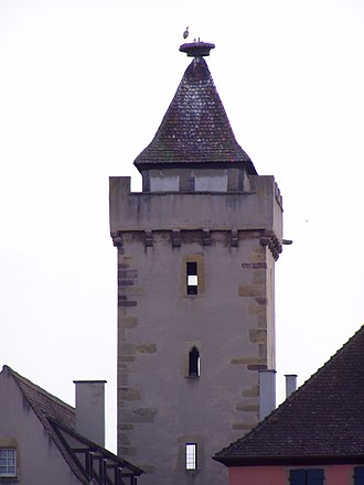 Rouffach - Witch tower with stork's nest
